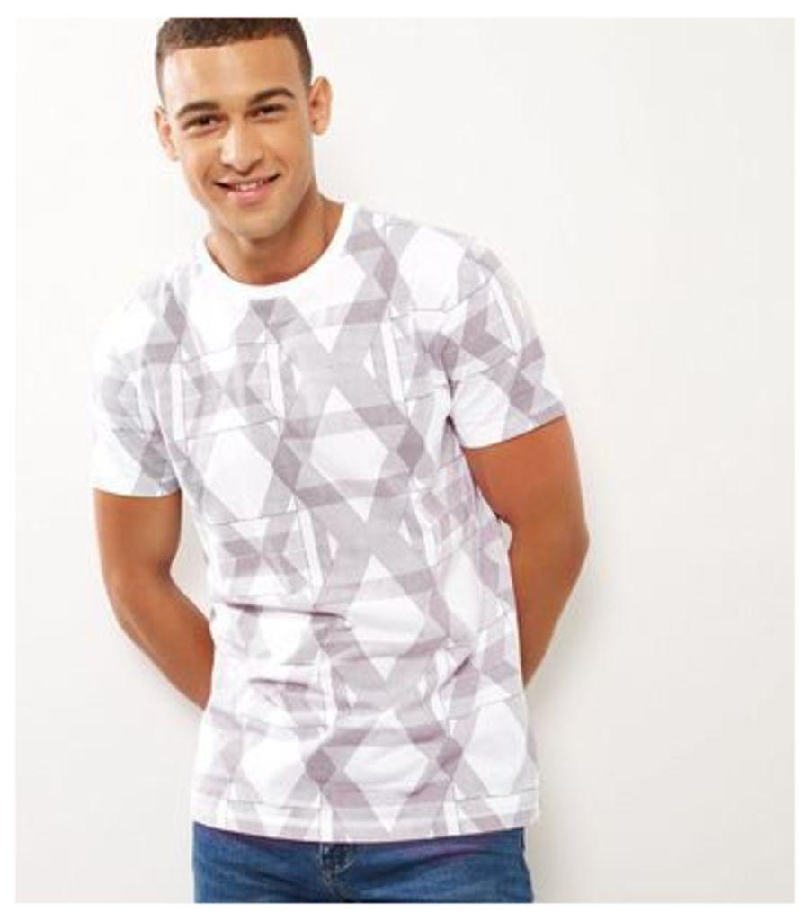 White Cotton Geo Print Short Sleeve T-Shirt