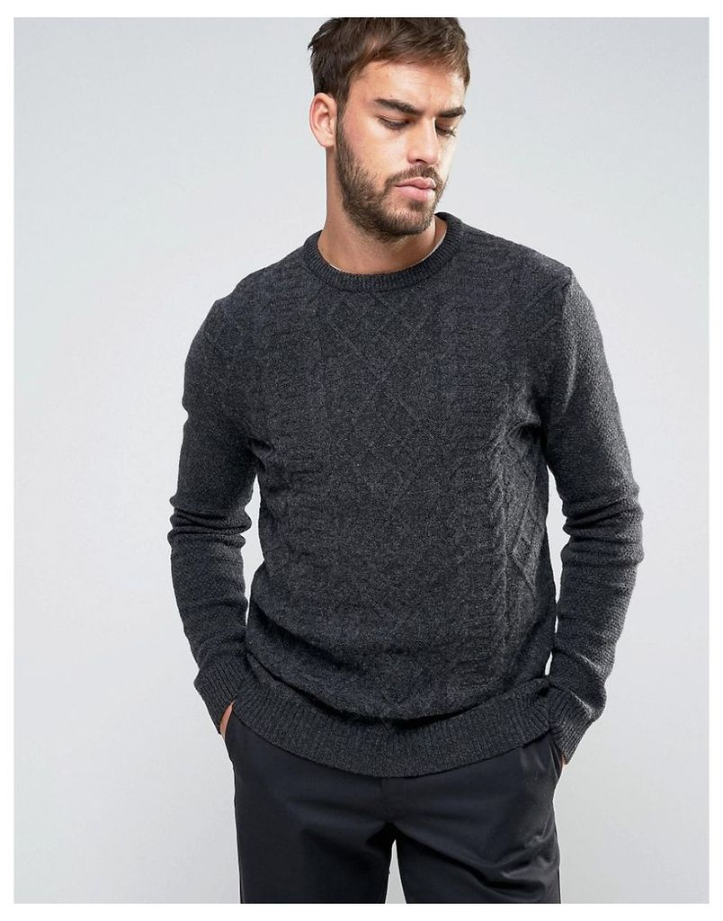ASOS Lambswool Rich Cable Jumper in Charcoal - Charcoal