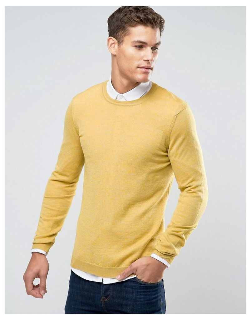 ASOS Merino Wool Crew Neck Jumper in Yellow Twist - Yellow twist