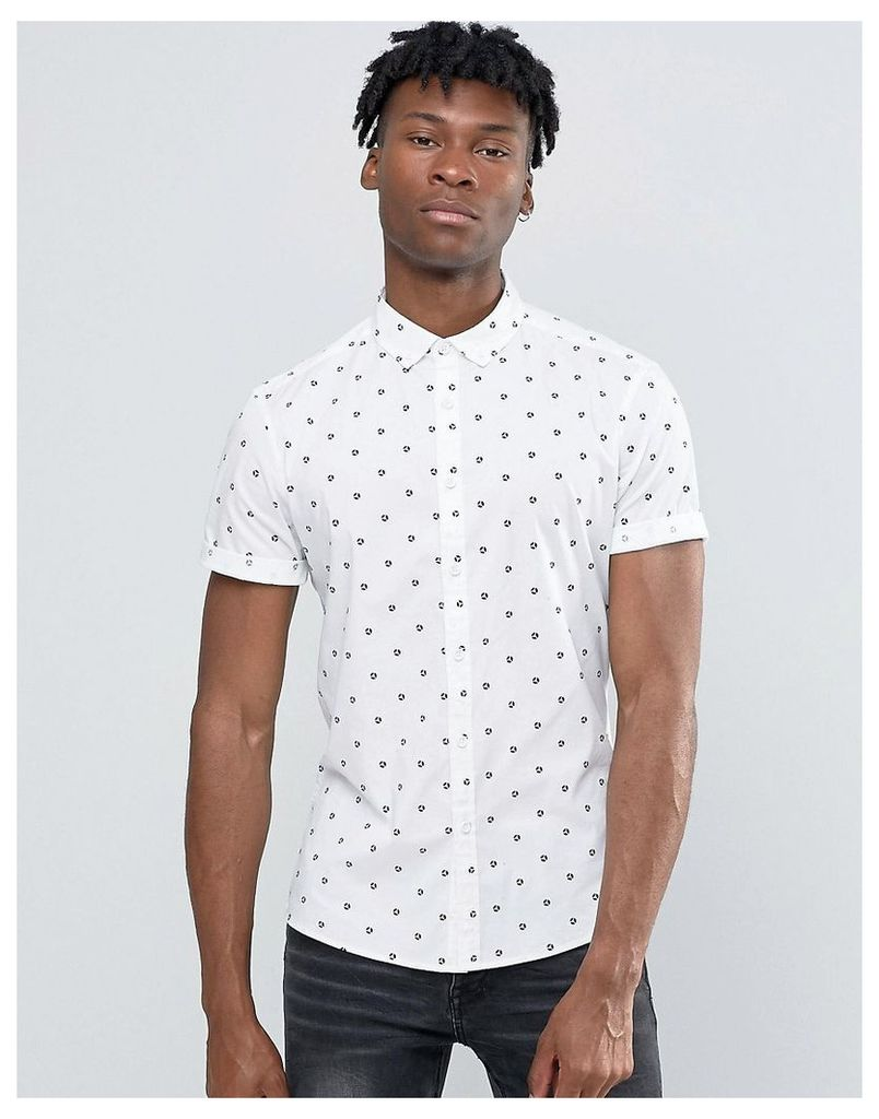 ASOS Abstract Polka Dot Shirt In Skinny Fit - White