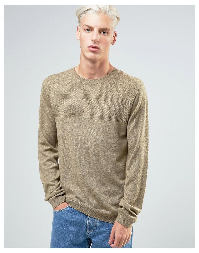 ASOS Merino Mix Jumper with Textured Stitch - Bitter