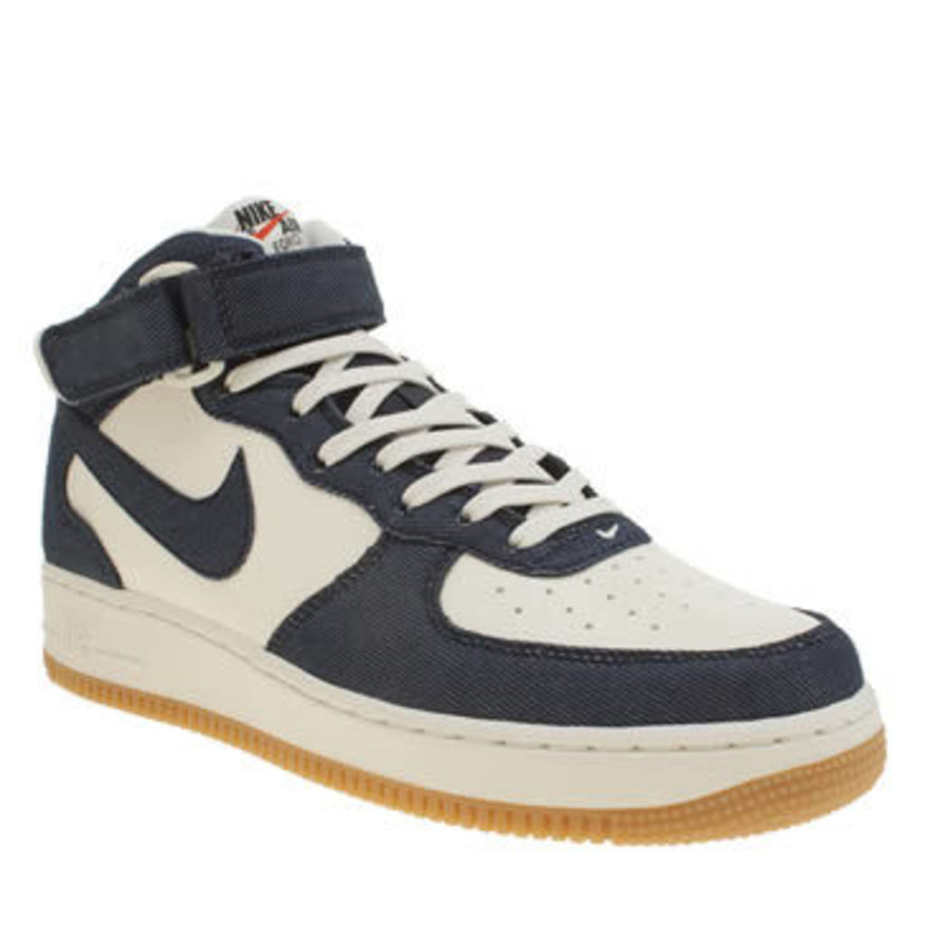 Nike White & Navy Air Force 1 Mid Mens Trainers