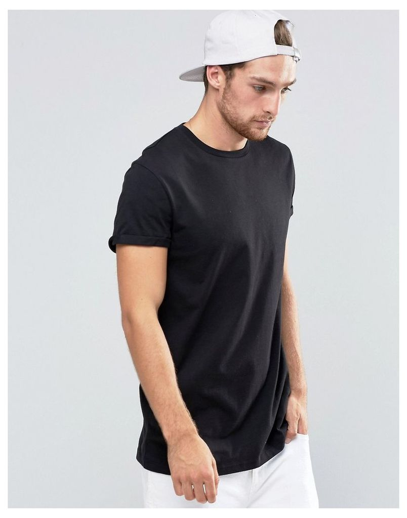 ASOS Longline T-Shirt With Roll Sleeve In Black - Black