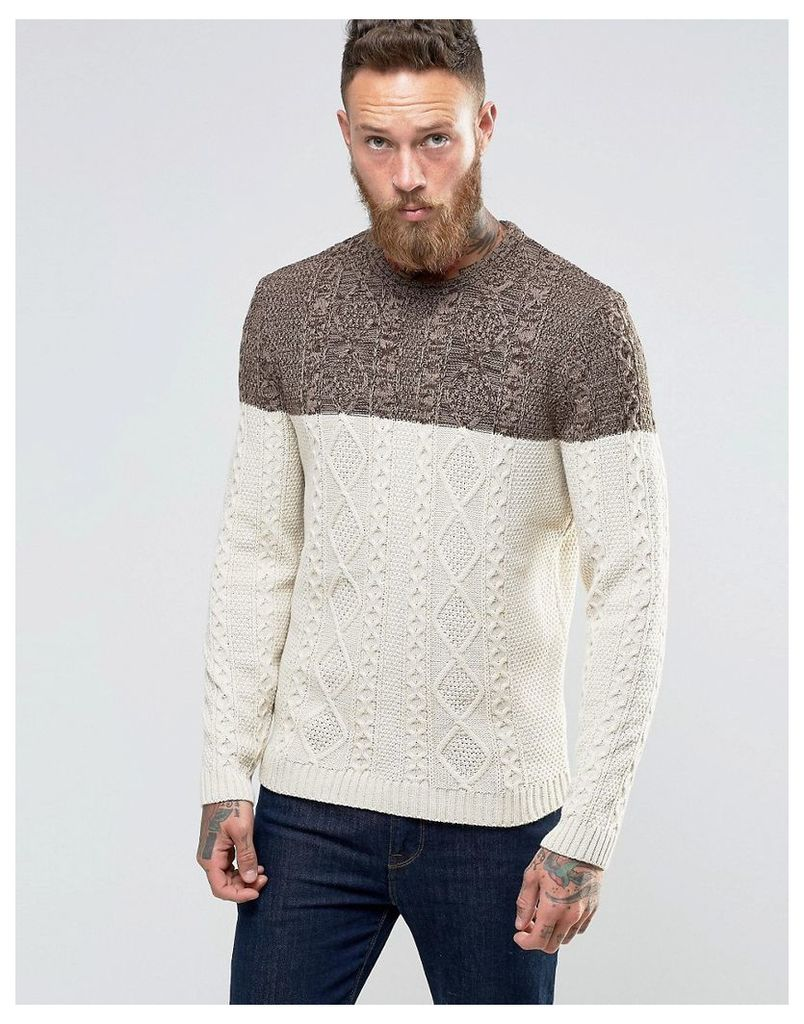 ASOS Cable Knit Jumper with Colour Block - Brown