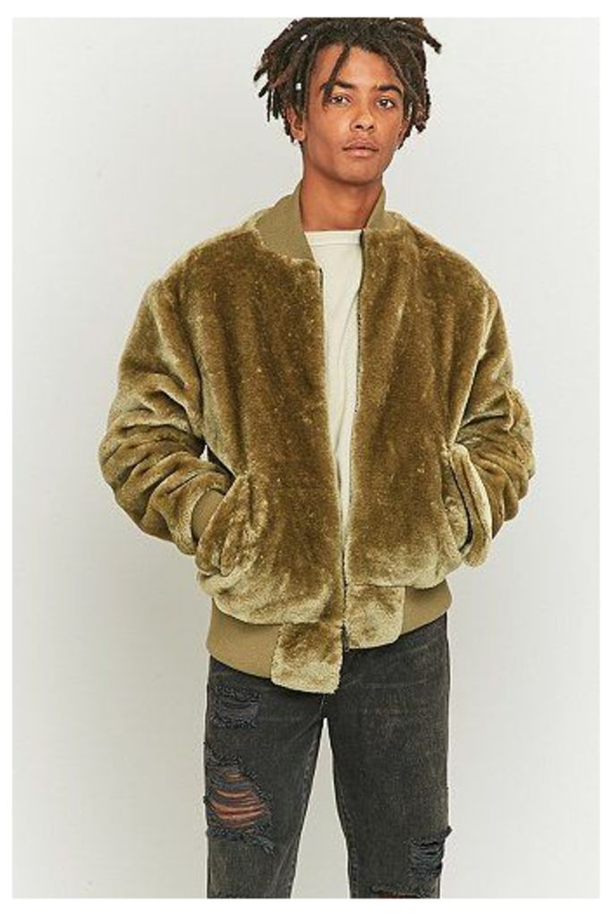 The New County Faux Fur Olive Bomber Jacket, Green