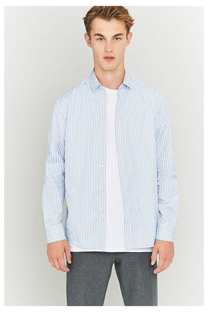 Capital Goods Blue and White Striped Poplin Shirt, White
