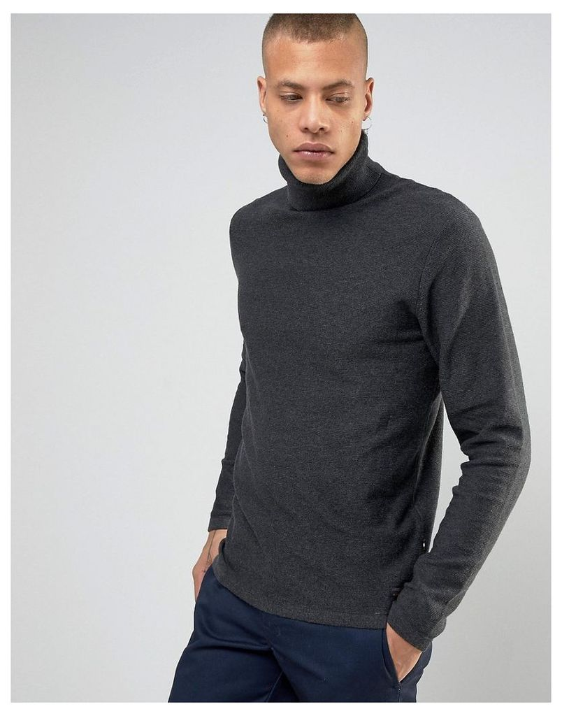 Produkt 100% Cotton Knitted Roll Neck Jumper - Dark grey