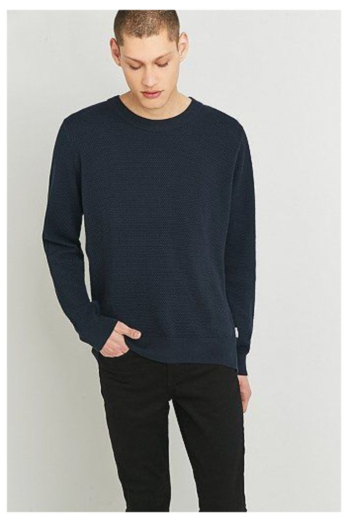 Shore Leave Long Sleeve Navy Textured Crewneck Jumper, Navy