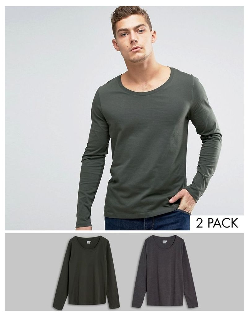 ASOS Long Sleeve T-Shirt With Scoop Neck 2 Pack - Charcoal/khaki