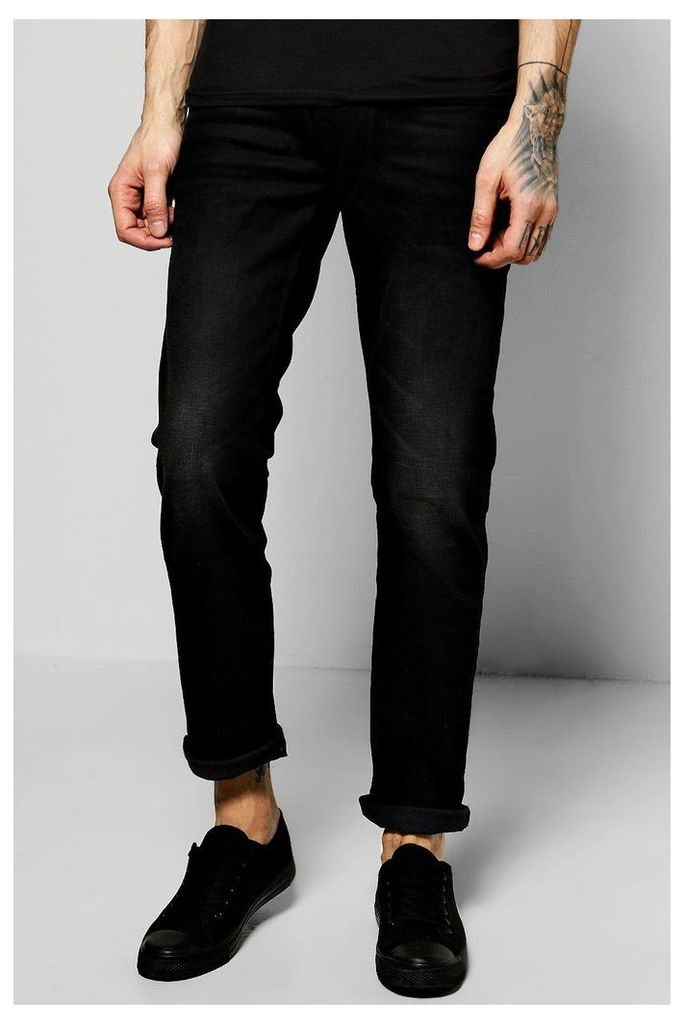 Fit Stone Washed Fashion Jeans - black