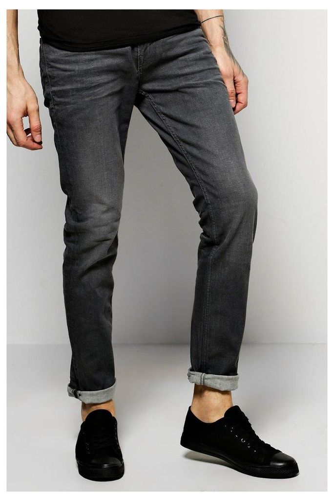Fit Stone Washed Fashion Jeans - grey