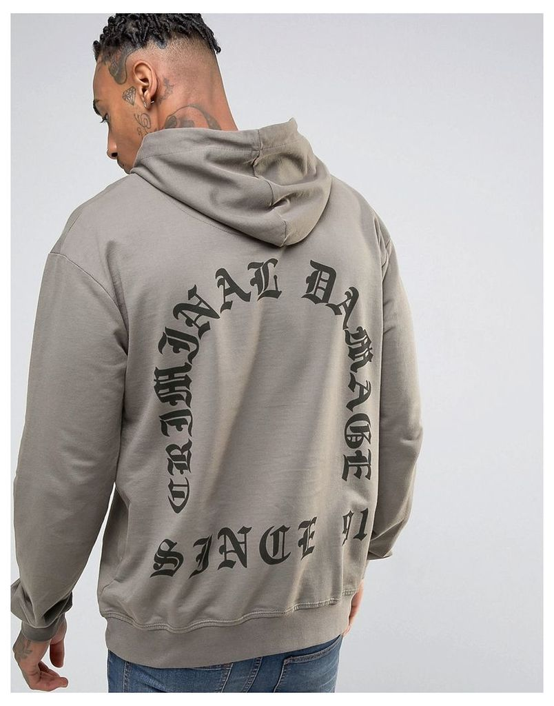 Criminal Damage Hoodie With Back Print - Grey