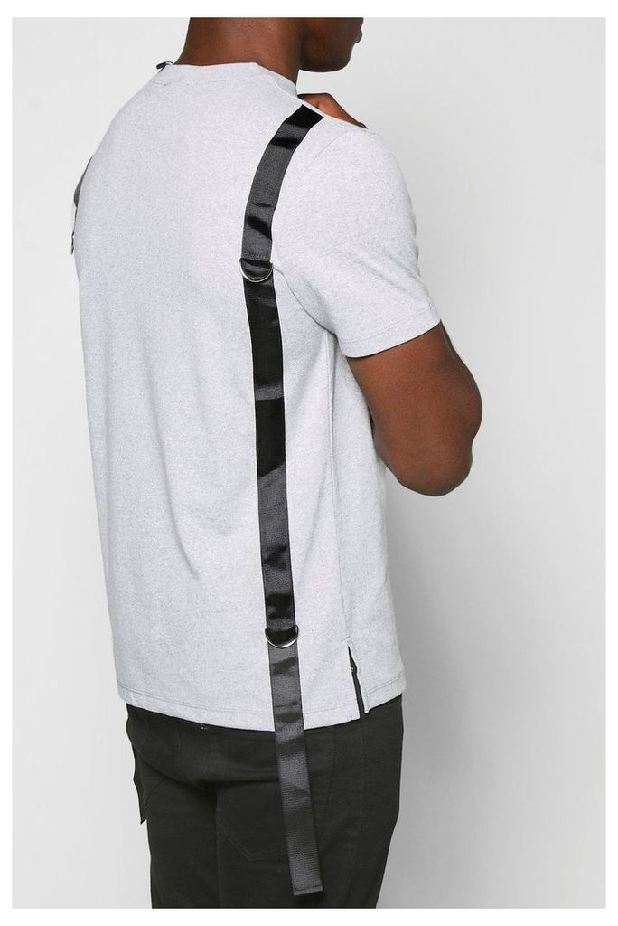 Neck T Shirt With Back Strap Detail - grey