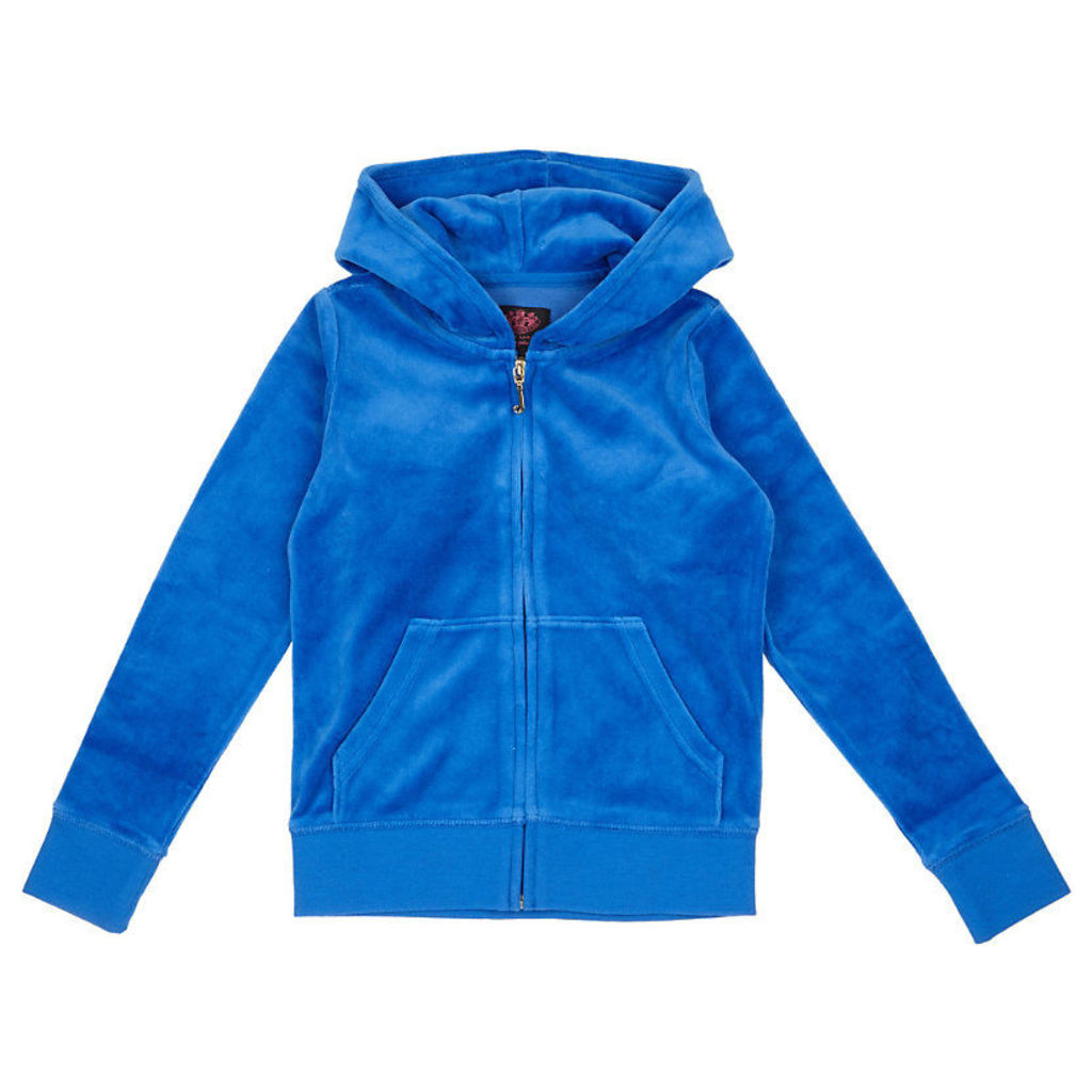 JUICY COUTURE Crest-embellished velour jacket 4-14 years, Girl's, Size: 14 years, Lazuli