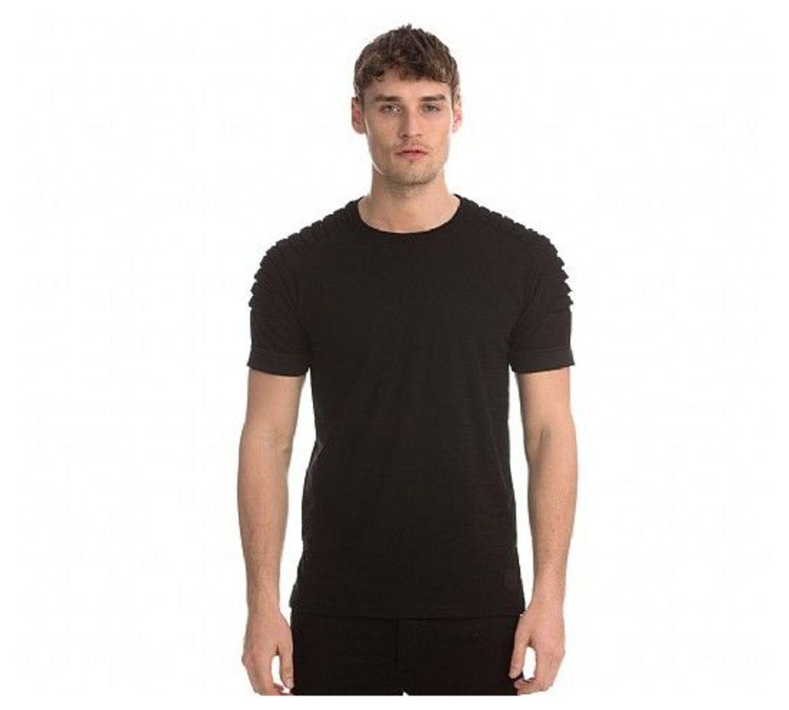 Pleated Sleeve Panel T-Shirt