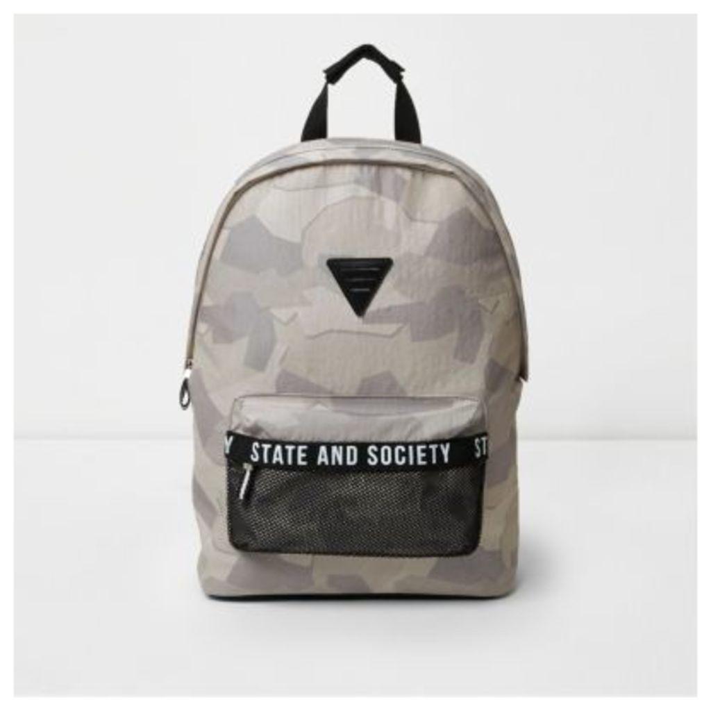 River Island Mens Grey camo print mesh pocket backpack