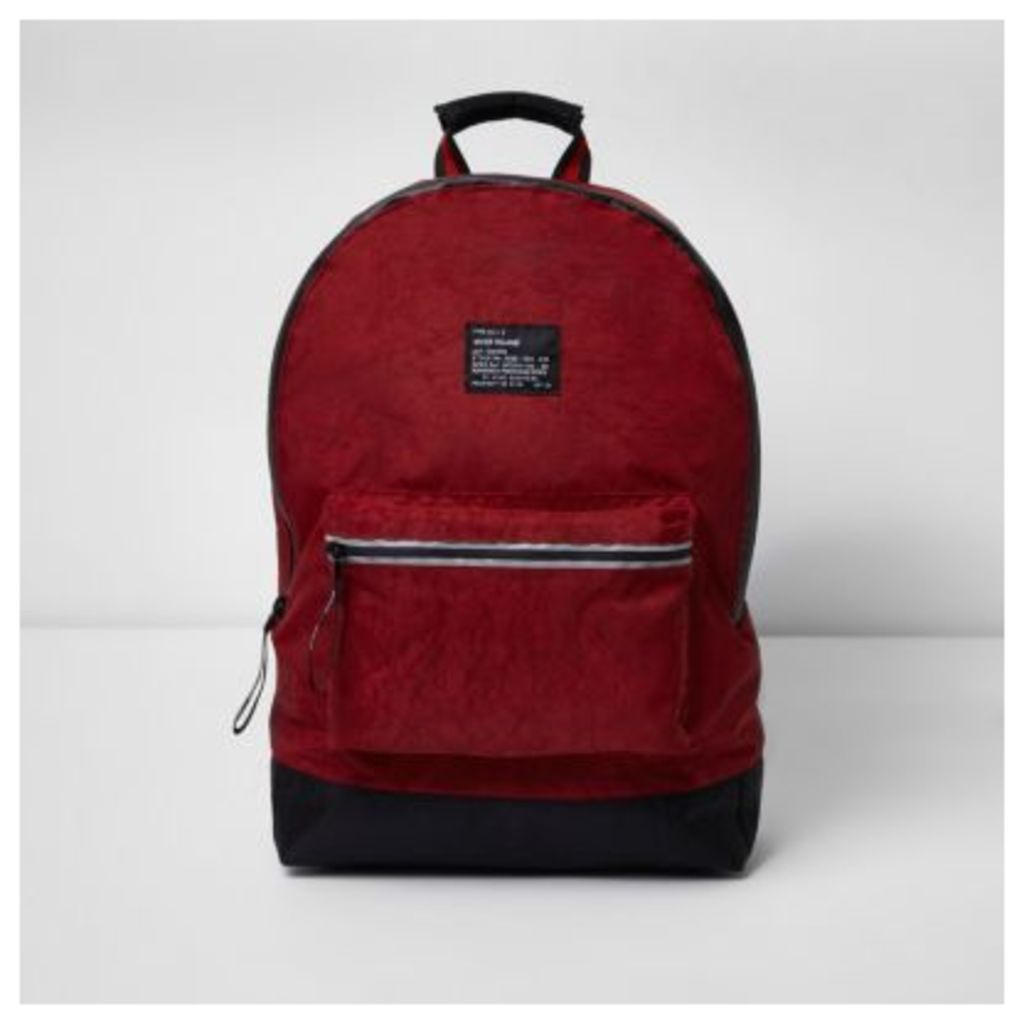River Island Mens Dark Red washed backpack