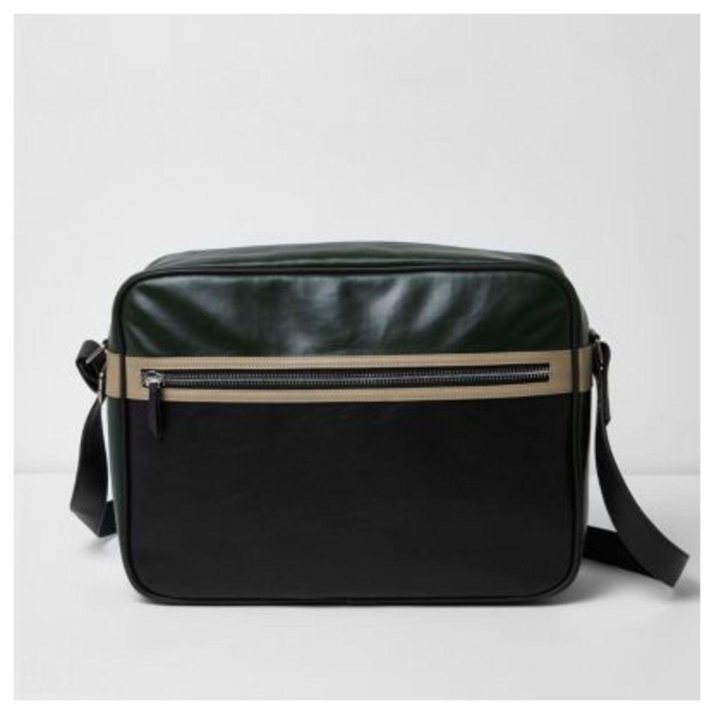 River Island Mens Black textured crossbody satchel bag