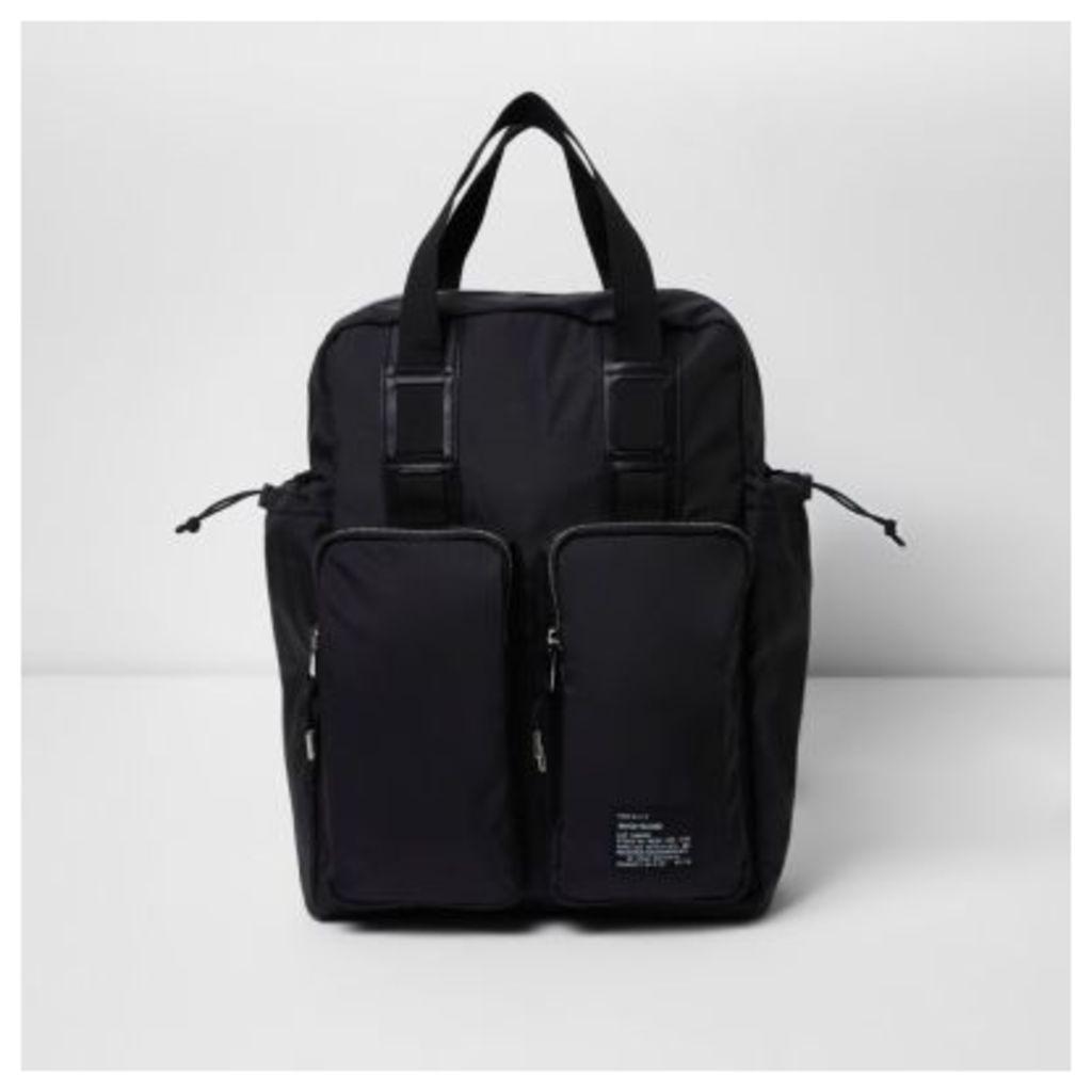 River Island Mens Black hybrid bag and backpack