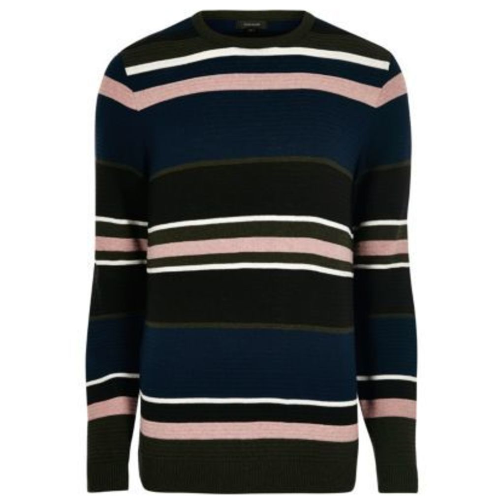 River Island Mens Black stripe slim fit jumper