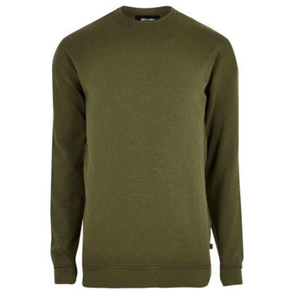 River Island Mens Khaki green slub nibbled sweatshirt