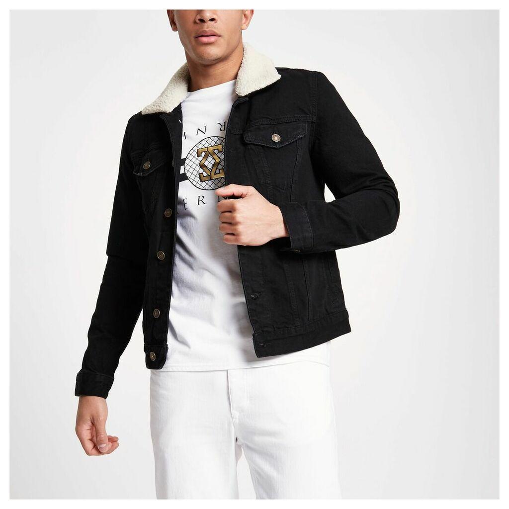 River Island Mens Black washed borg lined denim jacket