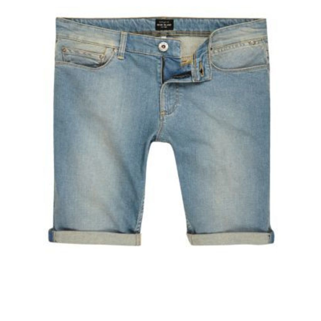 River Island Mens Light Blue wash faded denim shorts