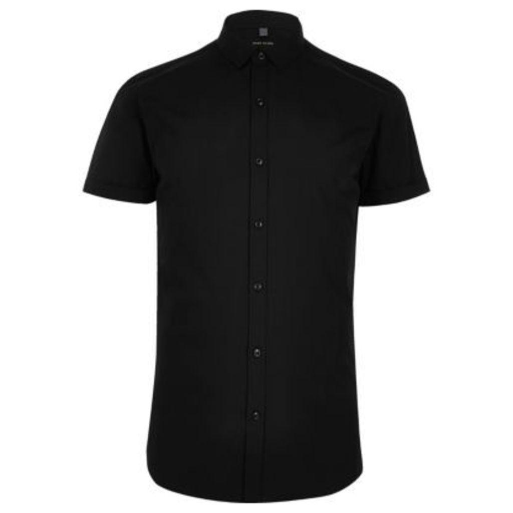 River Island Mens Black micro collar short sleeve shirt
