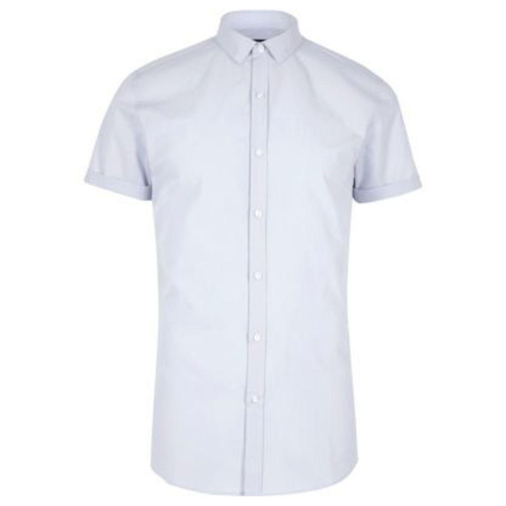 River Island Mens Light Blue micro collar short sleeve shirt