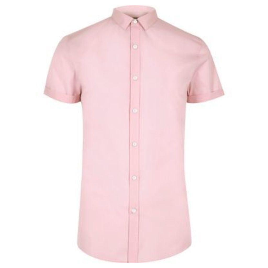River Island Mens Pink micro collar short sleeve shirt