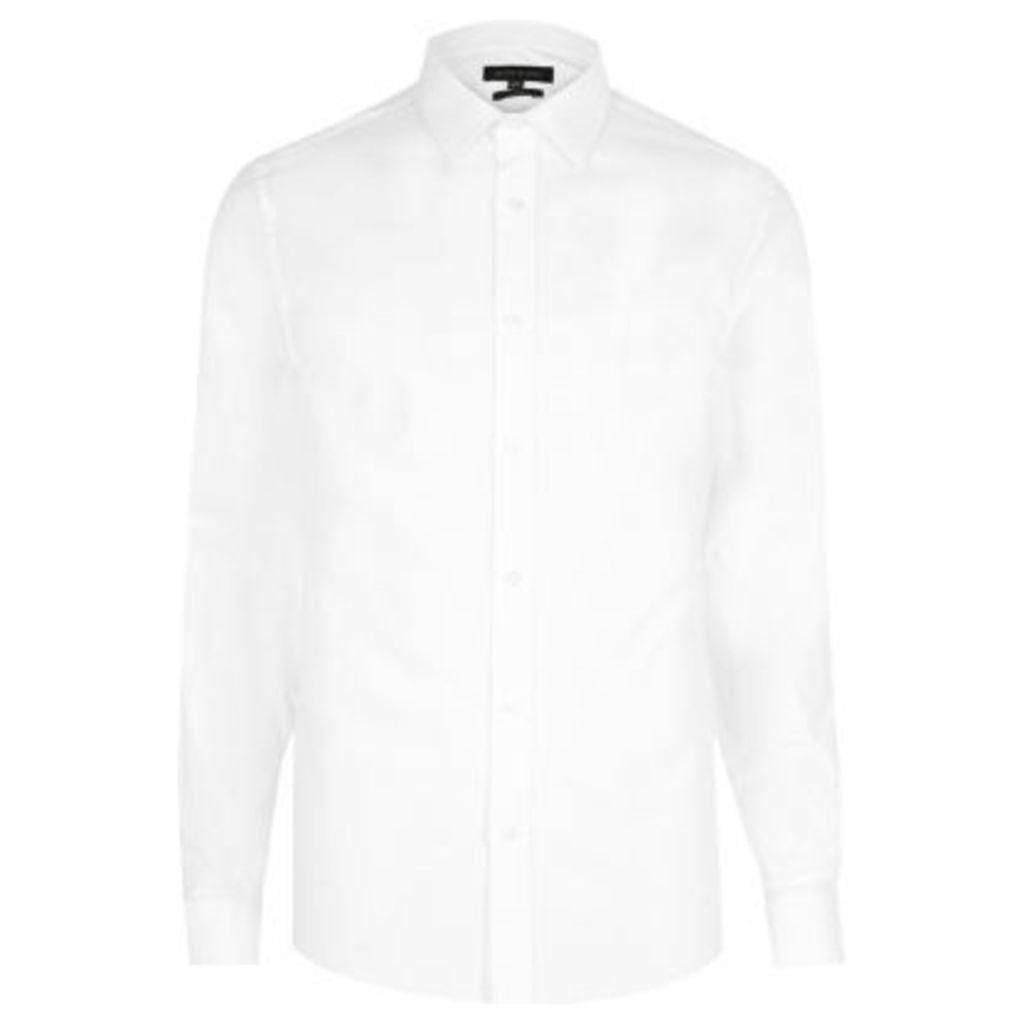 River Island Mens White cutaway collar shirt