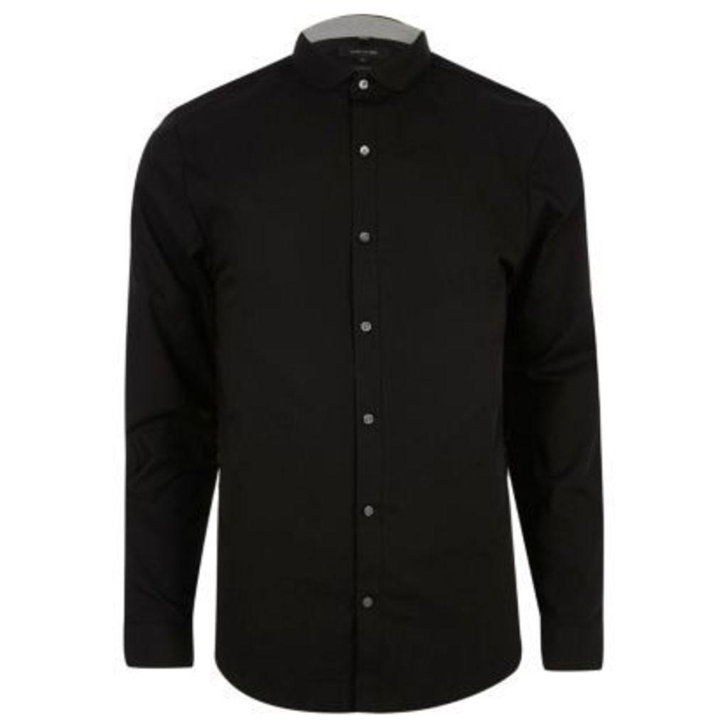 River Island Mens Black penny collar smart slim fit shirt