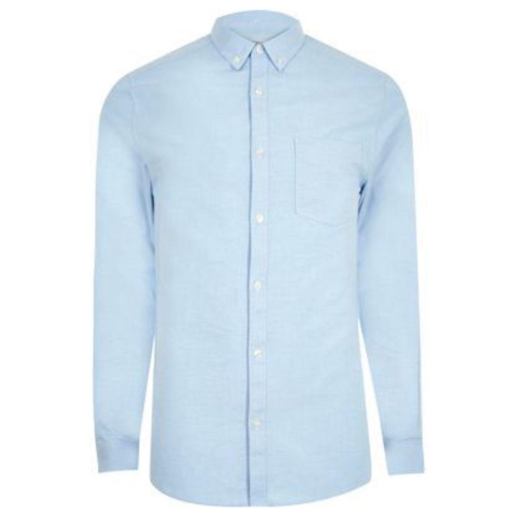 River Island Mens Blue casual skinny fit Oxford shirt
