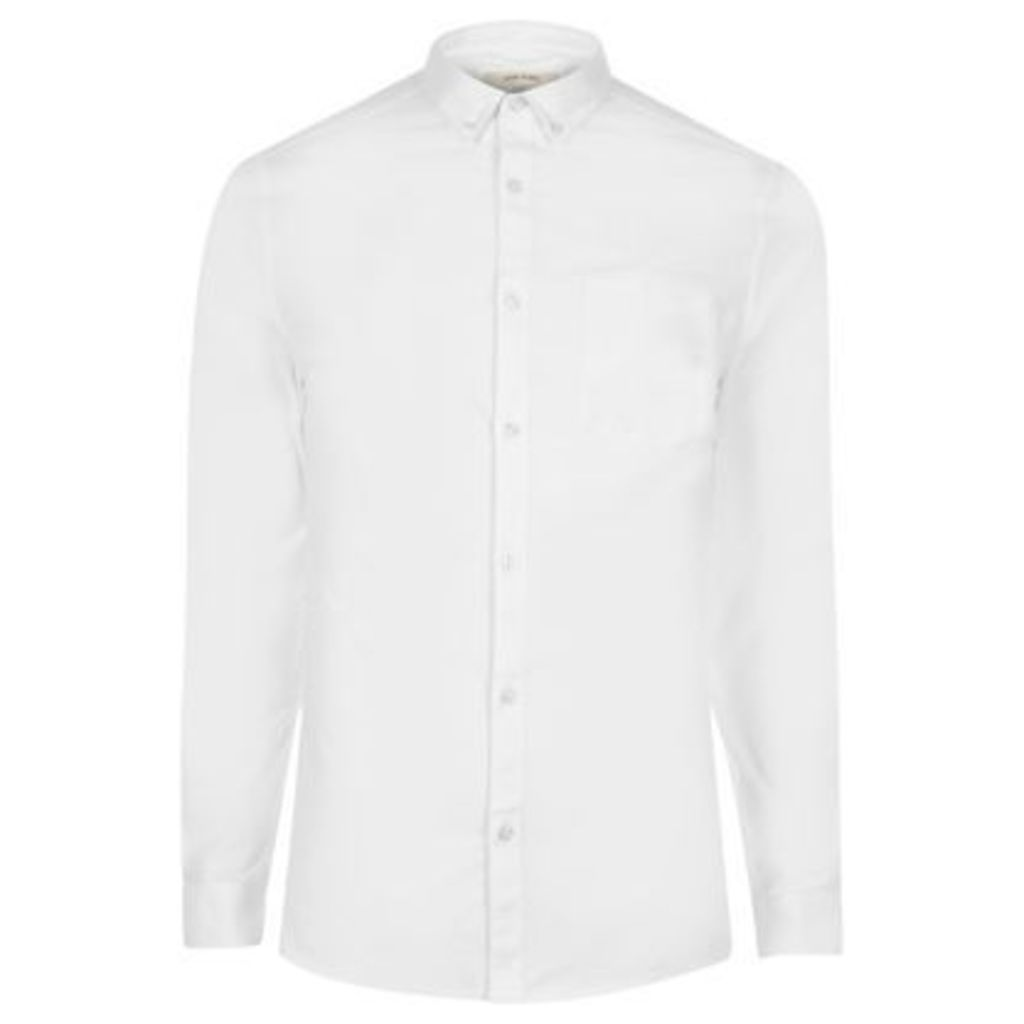 River Island Mens White casual skinny fit Oxford shirt