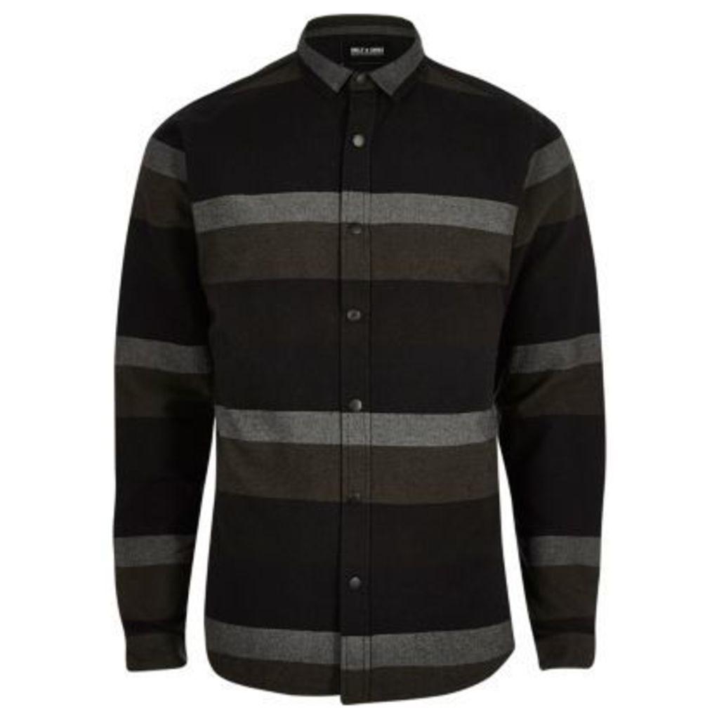 River Island Mens Black stripe print casual shirt