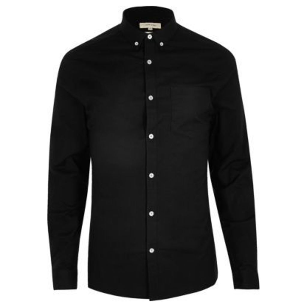 River Island Mens Black casual skinny fit Oxford shirt