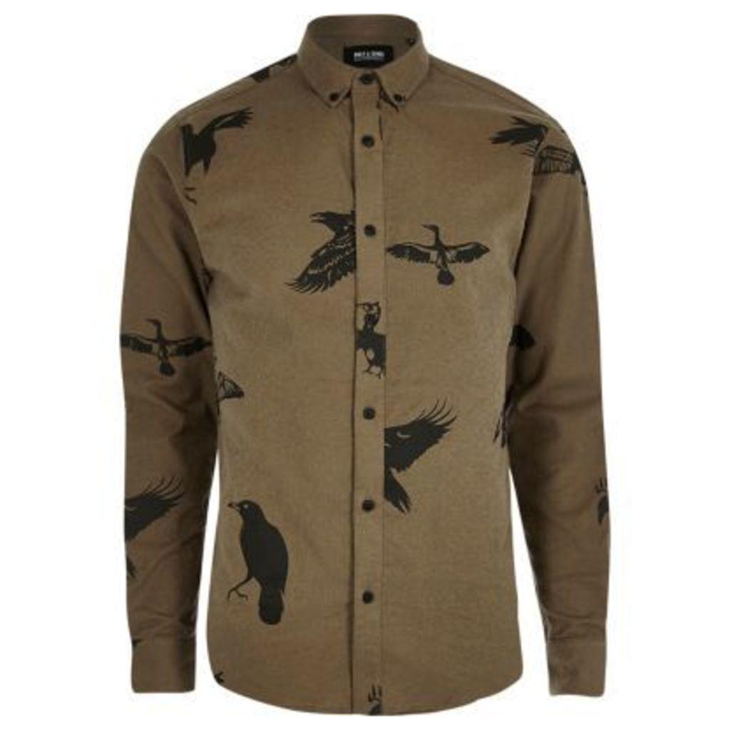 River Island Mens Brown bird print casual shirt