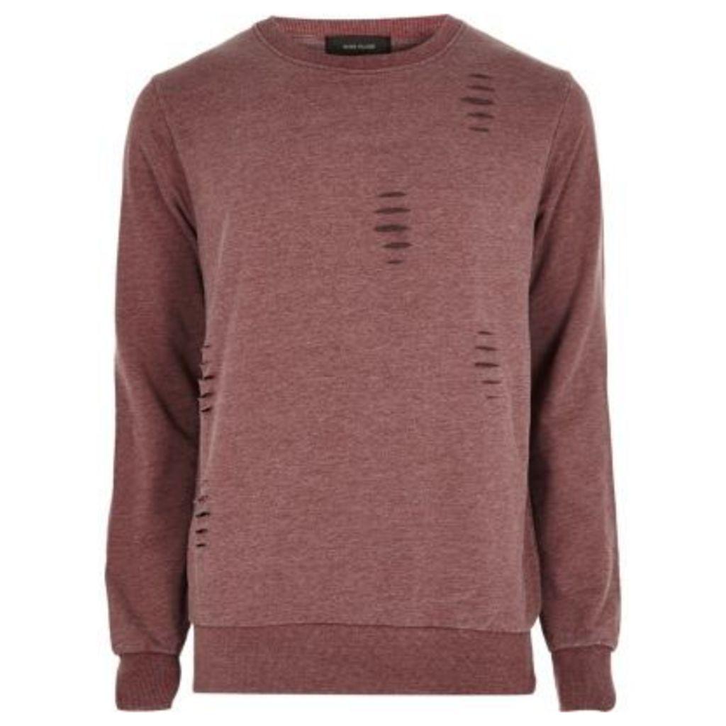 River Island Mens Red ripped crew neck sweatshirt