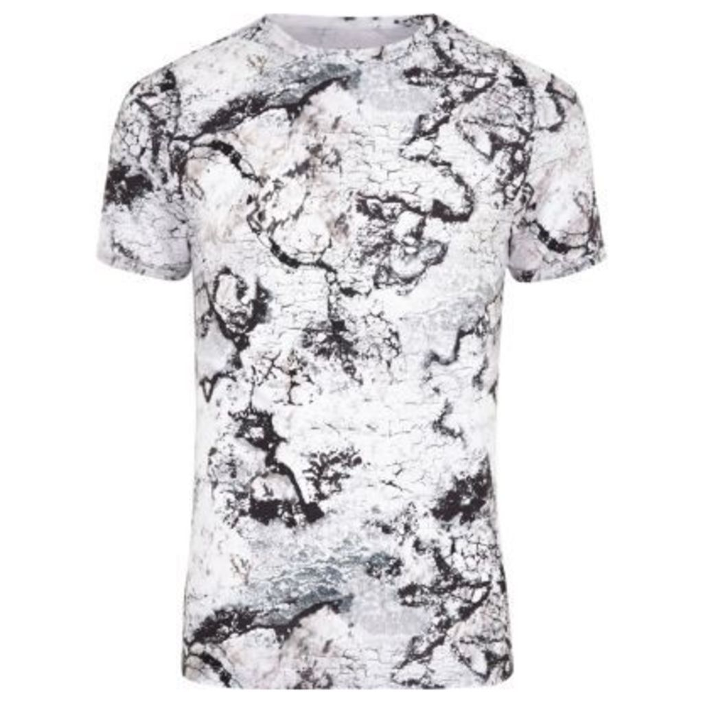 River Island Mens White marble print muscle fit T-shirt