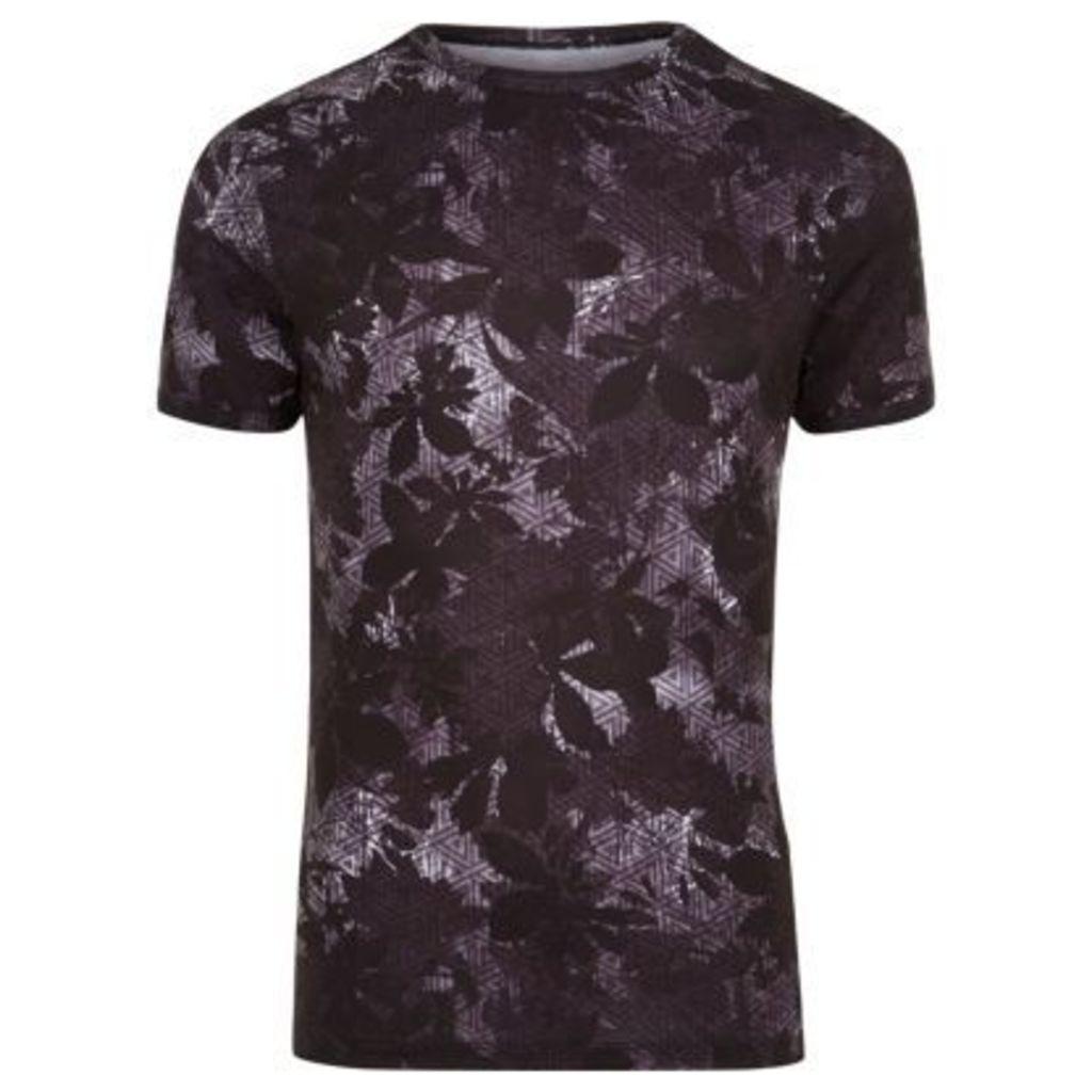 River Island Mens Black leaf print muscle fit T-shirt