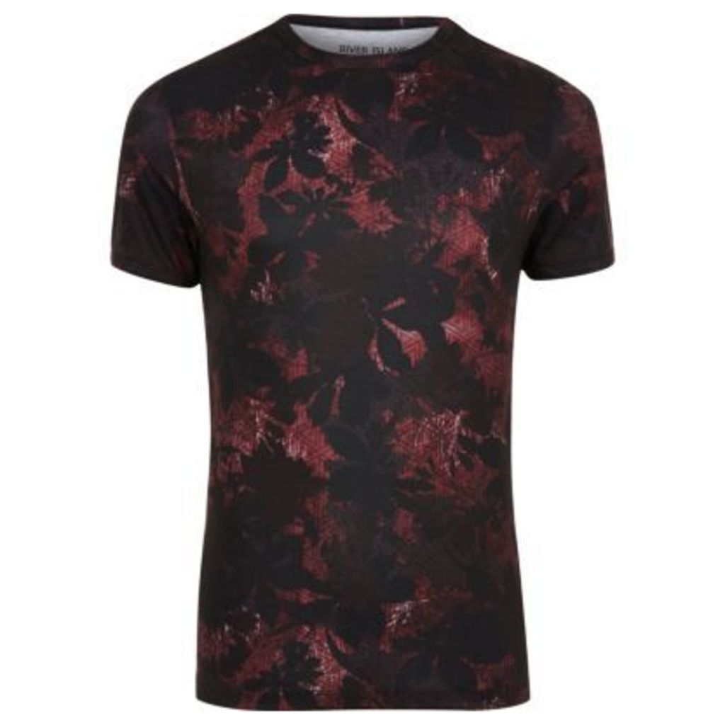 River Island Mens Black and red leaf print muscle fit T-shirt