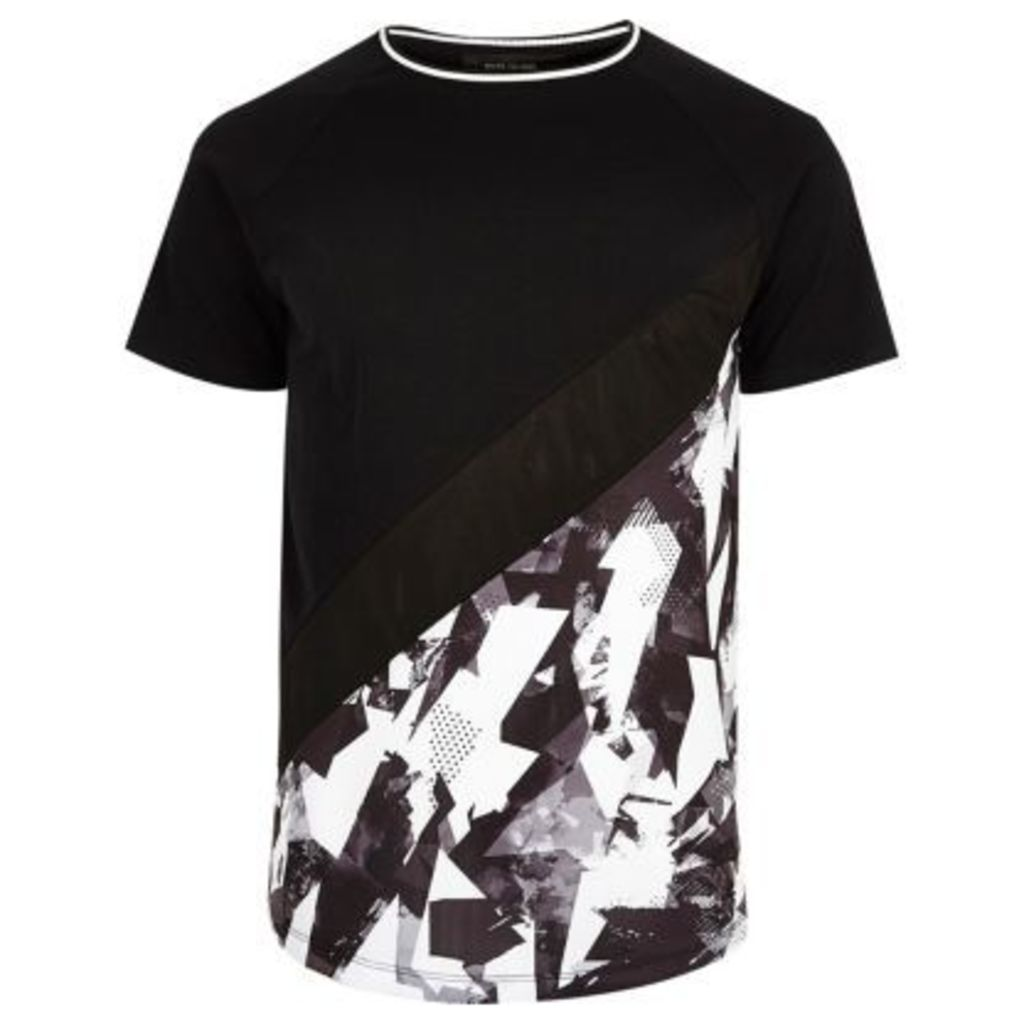 River Island Mens Black and white geo panel T-shirt