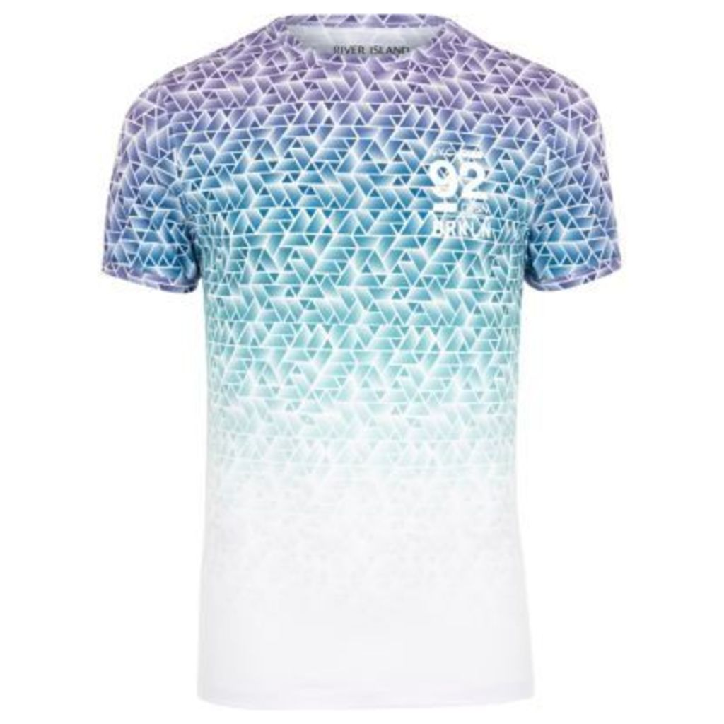 River Island Mens White and blue geo print muscle fit T-shirt