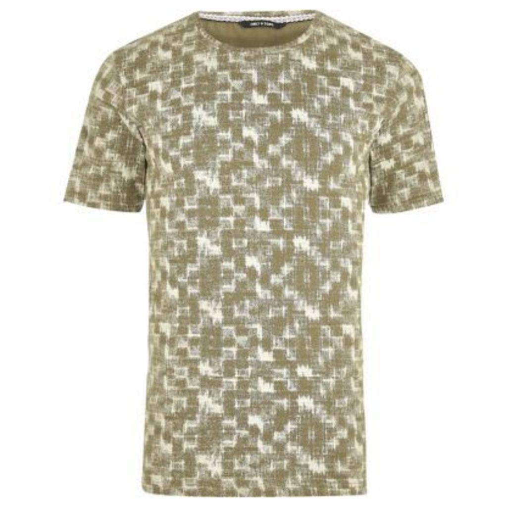 River Island Mens Green and white print T-shirt