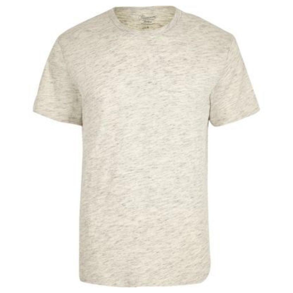 River Island Mens Ecru crew neck T-shirt
