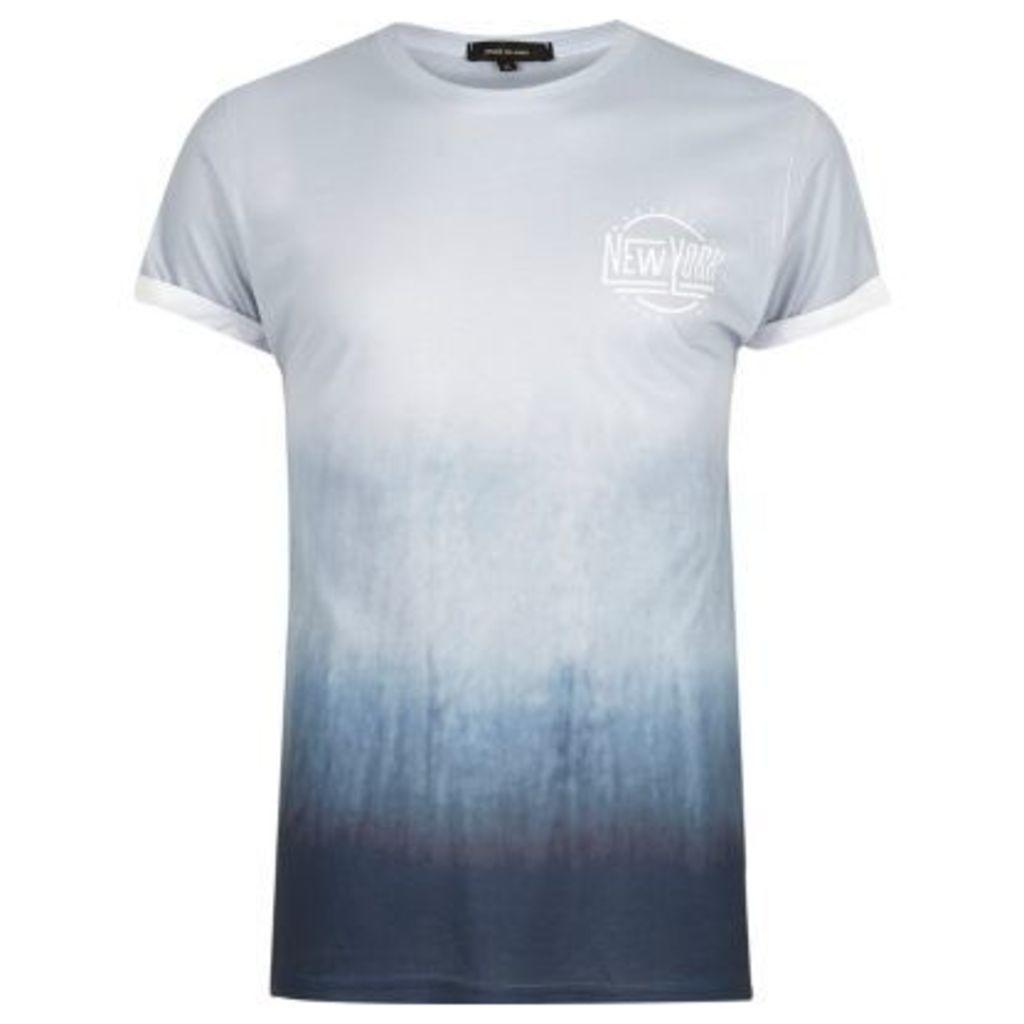 River Island Mens Green slogan print fade T-shirt