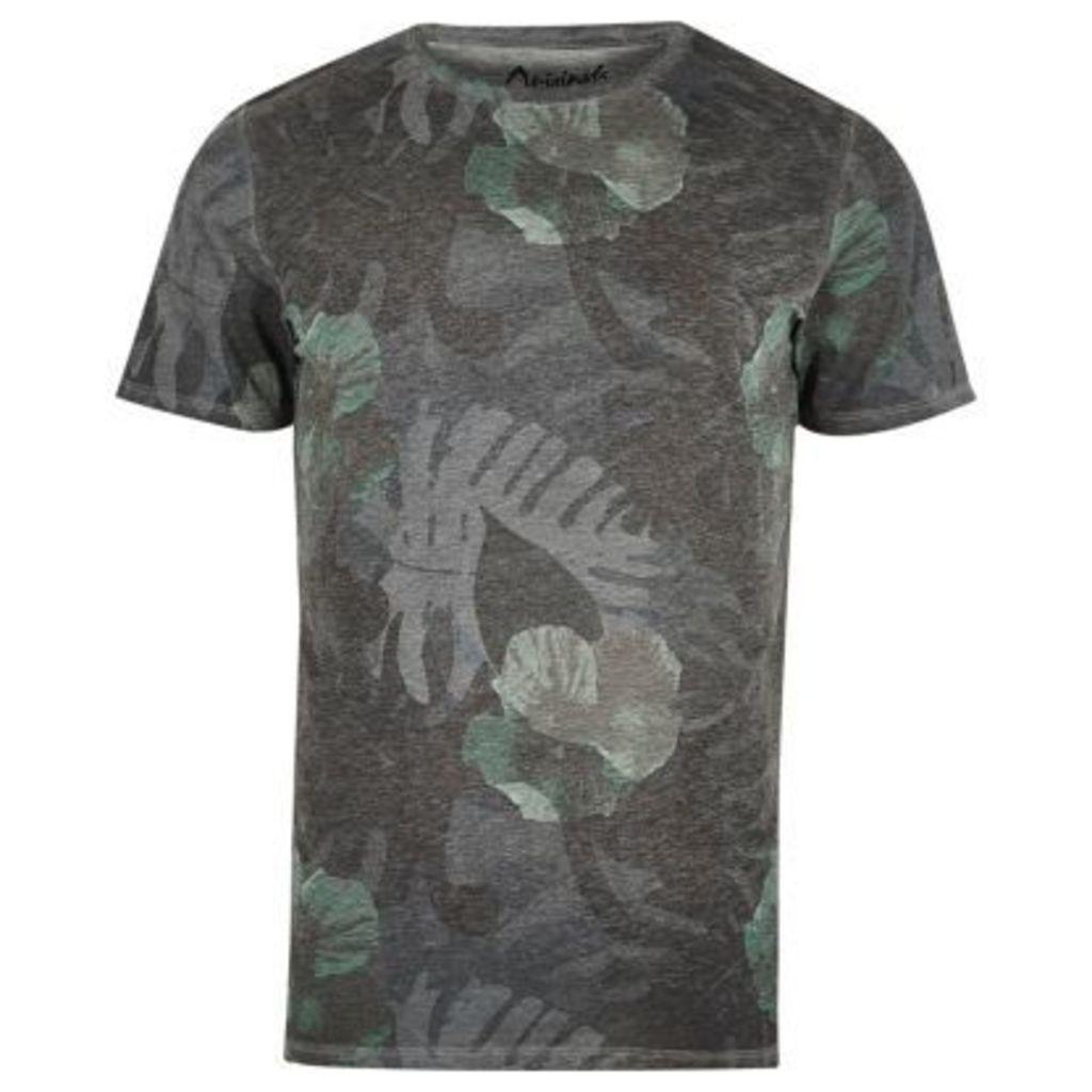 River Island Mens Grey faded leaf print T-shirt