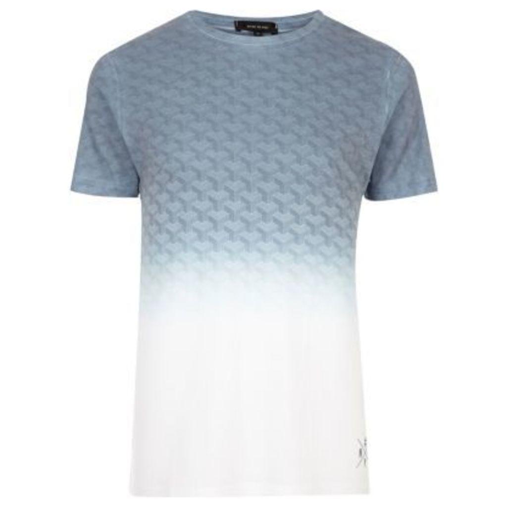 River Island Mens White faded geo print T-shirt