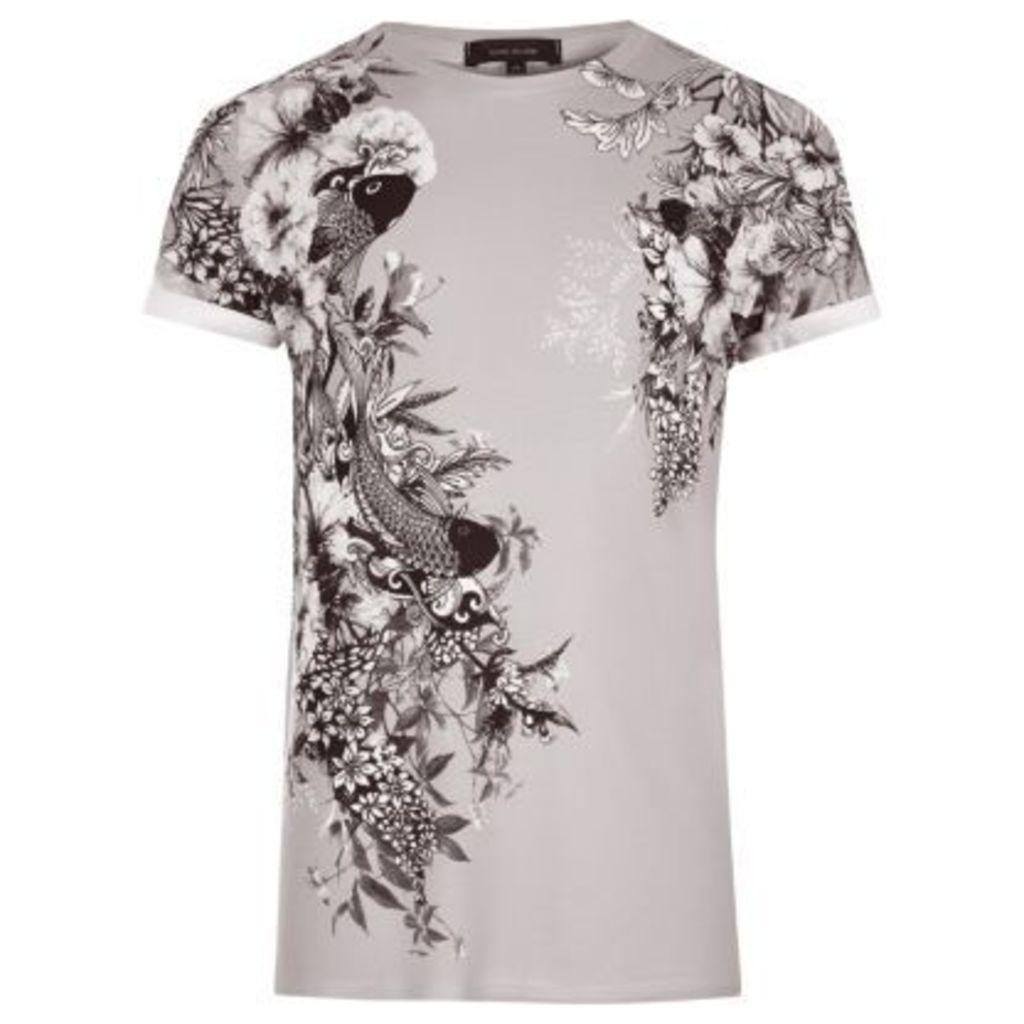 River Island Mens Beige oriental print T-shirt