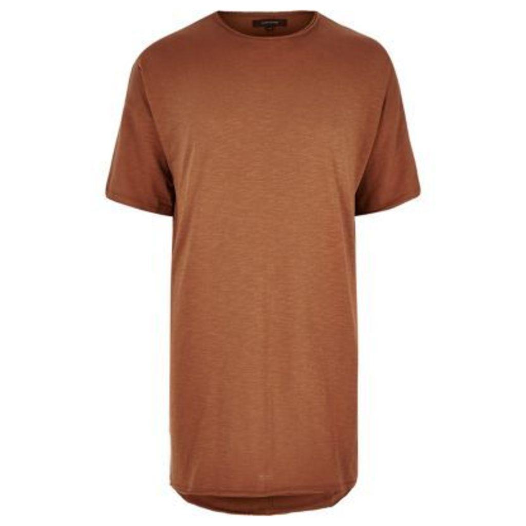 River Island Mens Rust extreme longline T-shirt